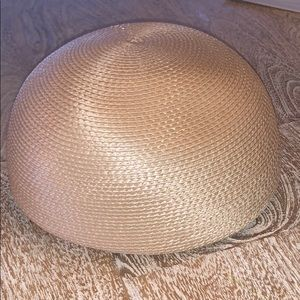 Vintage Straw type round hat cream